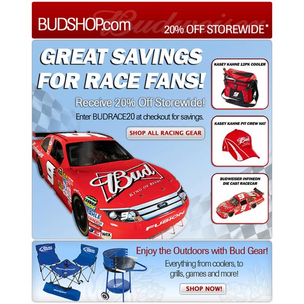 Budweiser Nascar Email Promo - SureSource 2011