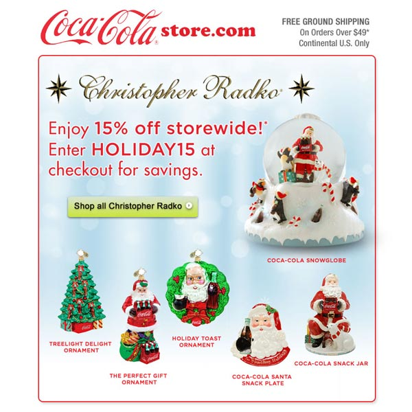 Coca-Cola Holiday email promo - SureSource LLC 2012