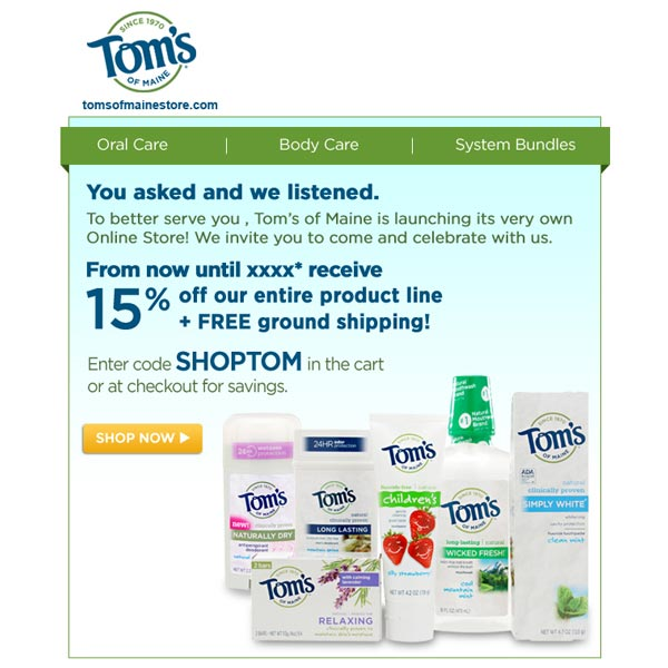 Tom's of Maine email promo - SureSource LLC 2012