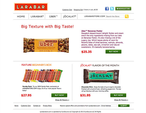 Shop.larabar.com - SureSource LLC 2011
